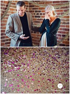Glitter Gender Reveal.  Love the look on her face when she finds out they are expecting a girl!