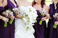 Purple & white bouquets
