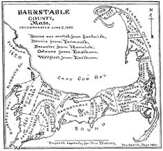 1890 map of Barnstable County, Massachusetts, home of my Atwoods