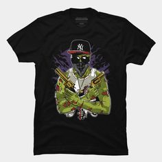 Gangsta Zombie is a T Shirt designed by MisfitInVisual and is available at Design By Humans Zombie Man, Baseball Tees, Trending Fashion, Tank Man, Shirt Designs, Guns, Pullover, Street, Mens Tops