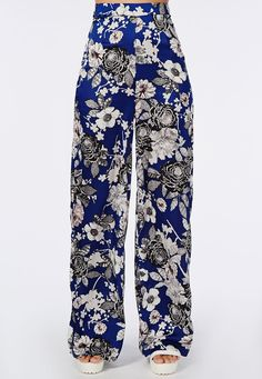 Floral Print Wide Leg Trousers - Trousers - Missguided