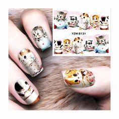 LCJ 1 Простыни переноса воды татуировки Полный Советы Дизайн ногтей Красота Cat конструкции Стикеры ногтей наклейки новый 8131