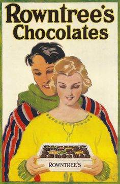 Rowntree's Chocolates advert, 1923.  Artist: ____ Brealey.  A striking poster for Rowntree's - the famous York chocolate company that merged in time with Mackintosh's of Halifax - and then to be swallowed whole by Nestle.