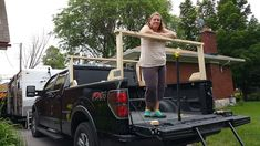 We had kayak carrying well in hand with the Sequoia. Kayak Rack For Truck, Diy Rack, Tonneau Cover, Blue Flames, Canoe, Kayaking, Trucks, Pocket, Projects