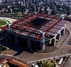San Siro aka The Stadio Giuseppe Meazza (outside) - home of both A. Milan and F. New Football Stadiums, Soccer Stadium, Football Match, Football Soccer, Stadium Architecture, Liverpool, Soccer Skills, Soccer Tips, European Football