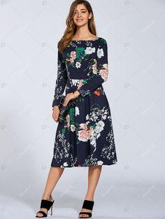 81a8f6753de Boat Neck Long Sleeve Floral Midi Dress - PURPLISH BLUE S