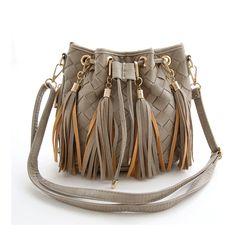 Herald Fashion New Winter Design Drawstring Bucket Bag PU Leather Knitting Bags Fringe Suede Weave Tassel Shoulder Bag Bolsas                                                                                                                                                                                 Mais