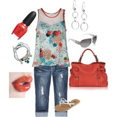 coral & teal, created by tltrover on Polyvore