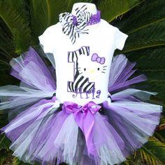 Purple zebra Hello Kitty 3pc Tutu set by kajanuary1 on Etsy, $45.00