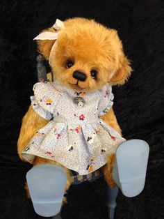 """Hazel"" sweet little girly bear~ By - Bonnie Foster www.thekidsandteddytoo.com"