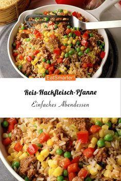 Einfaches Abendessen: Reis-Hackfleisch-Pfanne Alles aus einer Pfanne – so ist es am einfachsten! Und diese Reis-Hackfleisch-Pfanne hat alles, was ein schnelles Abendessen haben soll! Rice Recipes, Casserole Recipes, Meat Recipes, Dinner Recipes, Taco Casserole, Curry Recipes, Shrimp Recipes, Grilling Recipes, Healthy Eating Tips