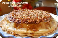 One of the best and easiest apple pies you'll ever eat! Upside Down Apple Pecan Pie is self glazing and delicious! Recipe at TidyMom.net
