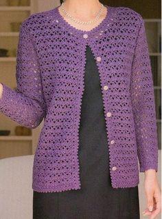 Crochet Bolero Pattern, Gilet Crochet, Crochet Coat, Crochet Jacket, Crochet Blouse, Crochet Clothes, Crochet Stitches, Crochet Patterns, Jacket Pattern