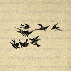 Digital Flying Birds Image Printable by VintageRetroAntique