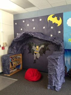 Harper clinics library bat cave! The kiddos love reader their favorite books in the bat cave!