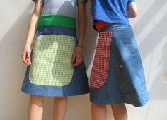 Röcke - JOI Mädchen Jeansrock Schürzentasche - ein Designerstück von jumoberlin bei DaWanda