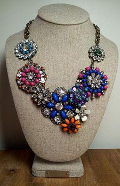 Authentic J CREW Colorful Crystal Flower Lattice Statement Bib Necklace W/Bag J Crew Necklace, Crystal Flower, Jewelry Watches, Fashion Jewelry, Pendants, Colorful, Pendant Necklace, Crystals, Flowers