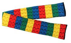 Bricky Blocks Knit Scarf - Keep yourself nice and warm this Winter season with this colourful Bricky Block Scarf! This 100% acrylic scarf will be soft to wear and measures about 58 inches long. It has blue, green, yellow and red blocks in that order all the way down. Perfect for those who love building and making things, this Bricky Block scarf will be enjoyable. A great stocking stuffer or Christmas gift or bundling up for the cold Halloween night. #YYC #Calgary #costume #BrickyBlocks #Lego