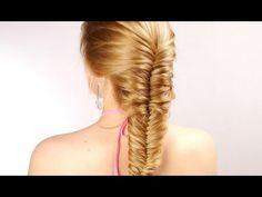 Плетение рыбий хвост. Прическа на длинные волосы. Messy Fishtail Braid Hairstyle