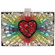 Gedebe Women Boxy Rainbow Heart Suede Clutch featuring polyvore, women's fashion, bags, handbags, clutches, multicolor, multi colored handbags, heart shaped purse, suede clutches, suede handbags and heart purse