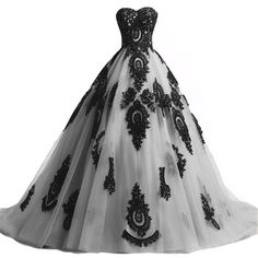 Black Lace Long Tulle A Line Prom Dresses Evening Party Corset Gothic... ($160) ❤ liked on Polyvore featuring dresses and gowns