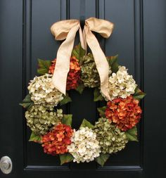 Fall Wreath, Hydrangeas by Two Inspire You - contemporary - holiday decorations - Etsy