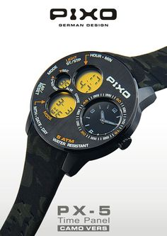 (NEW) PX-5 Time Panel - CAMO VERS ,  Dual time display, strong and heavy duty design, multi-eyes design, multi-funciton including: Stopwatch, Alarm and hourly chime. Please see the details at : http://www.pixowatch.com/PIXO-PX-5