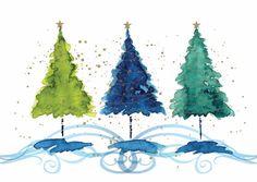 watercolour festive tree - Google Search