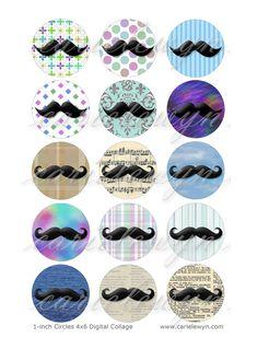 Mod-Schnurrbart Bottlecap Bilder / Vintage Retro Schnurrbärte digitale Collage / druckbare 1 Zoll Kreise / Instant Download