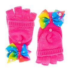 JoJo Siwa Pink Bow Gloves | These sparkly pink JoJo Siwa gloves will keep your hands warm in style. The gloves have a mitten section to protect your fingers from the cold which button back to reveal fingerless gloves for maximum utility.
