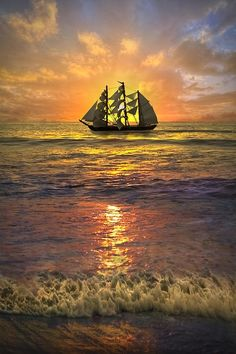 Ship lost in the sunset