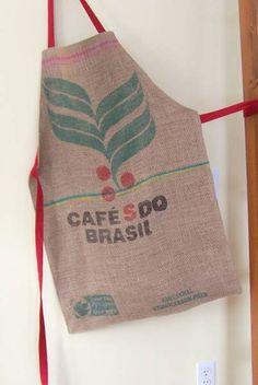 Maiden Jane: Tutorial - Make a Unique Coffee Bag Apron Burlap Projects, Burlap Crafts, Sewing Projects, Coffee Bean Sacks, Coffee Beans, Coffee Pods, Burlap Coffee Bags, Burlap Sacks, Hessian
