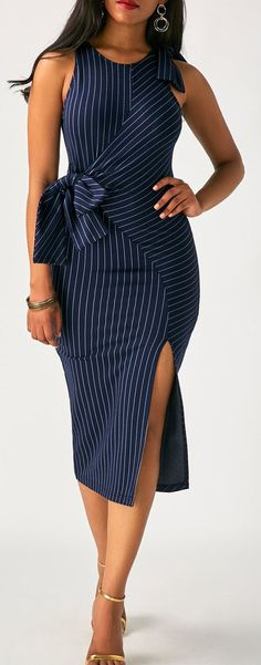 @roressclothes clothing ideas #women fashion Navy Blue Pinstriped Sleeveless Bow Side Slit Midi Dress