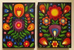 Folk Flowers, Original Art, Flower, Folk Panttern, Set of Two, Oil on canvas, MikiMayo