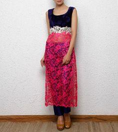 Navy Blue & Pink Velvet Kurta with Pants