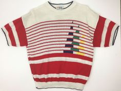 Vintage 70's 60's Women's Dolman Knit Top Colorblock Nautical Sailboat M/L  | eBay