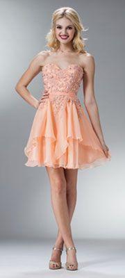 2014 Prom Dresses - Peach Rhinestone Beaded Sweetheart Strapless Short Dress (40855-CINJC913) van Cinderella Divine Moto...Price - $110.00-9ZAvx8PN