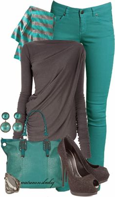 Teal and gray.