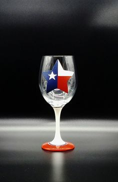 Texas Flag Star Hand Painted Wine Glass Red White Blue Texan
