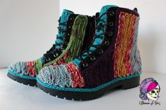 I have a pair of old black boots and spare yarn. The trouble is just picking out the colors I want.