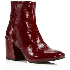Kenneth Cole Randii Patent Leather Block Heel Booties (£139) ❤ liked on Polyvore featuring shoes, boots, ankle booties, wine, patent boots, patent leather booties, block heel boots, kenneth cole and patent booties