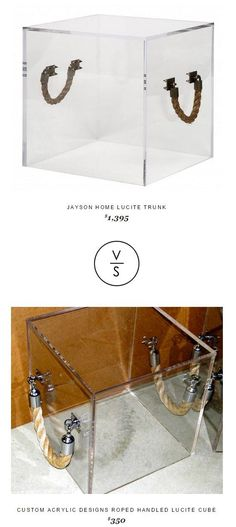 @jaysonhome Lucite Trunk $1,395 Vs Custom Acrylic Designs Roped Handled Lucite Cube $350