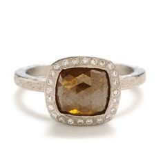 Greenwich Jewelers Diamond Ring with Diamond Halo - with a champagne diamond slice instead of the orange diamond... yes please.