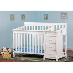 Dream On Me Jayden 4-in-1 Portable Convertible Crib with Changer, White - Walmart.com