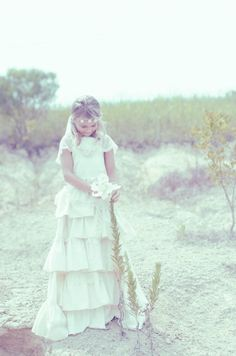 Beach Wedding in Ivory - Flower girl dress with lace and Flower Floor by LaParisLaur