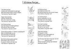 * Versje: 10 kleine pietjes...