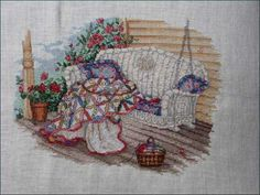 Paula Vaughan cross stitch   (...cr...I want to do this one or the one below this as there is white wicker and I just love it)