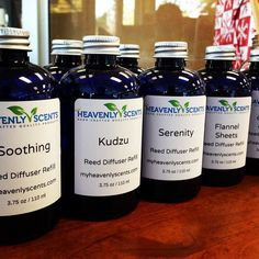 These reed diffusers are great for the office closet bathrooms or anywhere else you want long lasting fragrance without using a candle. #myheavenlyscents #heavenlyscents #diffusers #spa #oakmossandamber #awesome #sylacauga #handcrafted #handmade #shoplocal #smallbusiness #entrepreneur #kudzu #serenity #soothing #lavender #flannelsheets