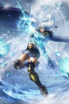 This pin is a picture of a champion in League of Legends. League of Legends is the game i am rapt in. I always play it with my friend after school and i think it helped me made more friends. Lol League Of Legends, Anime Fantasy, Sci Fi Fantasy, High Fantasy, Fantasy Women, Fantasy Girl, Ice Warriors, Fantasy Warrior, Fantasy Artwork
