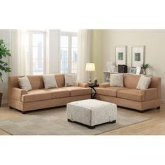 Poundex 2 pc Brenda collection Tan microsuede fabric upholstered sofa and love seat set with throw pillows Sofa Uk, Sofa And Loveseat Set, Sectional Sofas, Contemporary Living Room Furniture, Sofa Colors, Comfortable Sofa, Upholstered Sofa, Best Sofa, Living Room Sets
